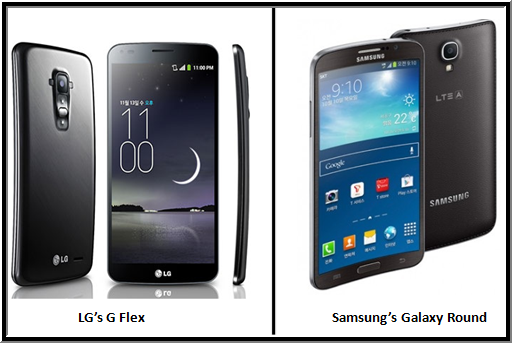 LG (Flex) and Samsung (Round) Curved Screen Mobile Phones